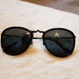Oliver Peoples jgold black and gunmetal sunglasses